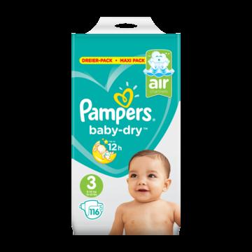 Pampers Baby-Dry Maat 3, 116 Luiers, Voor Droge Ademende Huid