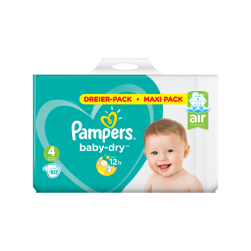 Pampers Baby-Dry Maat 4, 102 Luiers, Voor Droge Ademende Huid