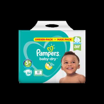 Pampers Baby-Dry Maat 5+, 84 Luiers, Droge Ademende Huid
